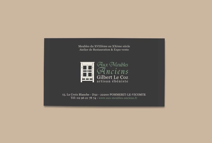 carte de visite pour artisan ébéniste en Bretagne