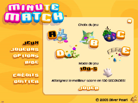 screenshot du menu du jeu Minute Match