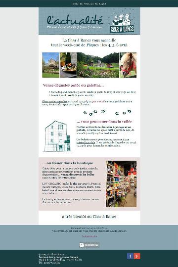 newsletter du restaurant Au char à bancs à Plélo