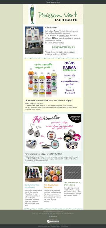 newsletter du magasin Poisson vert à Binic